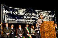 Roma, 16 Ottobre 2013<br /> Commemorazione per le deportazioni degli ebrei dal ghetto di Roma del 16 ottobre 1943. Presidente della Camera dei Deputati Laura Boldrini<br /> Rome, 16 October 2013<br /> 70/o anniversary, Rome remembers October 16 1943,when over a thousand Roman Jews,and among them 350 children,were driven from their homes.An official ceremony and candlelight vigil is organized by the Community of Sant'Egidio and the Jewish Community.President of Chamber of Deputies Laura Boldrini