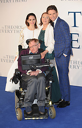 March 13, 2018 - FILE - STEPHEN HAWKING has died due to amyotrophic lateral sclerosis, a progressive neurodegenerative, he was 76. The British theoretical physicist was known for his groundbreaking work with black holes and relativity, and was the author of several popular science books including A Brief History of Time. PICTURED: Dec. 9, 2014 - London, England, United Kingdom - Felicity Jones, Stephen Hawking, Jane Hawking and Eddie Redmayne  attends the UK premiere of 'Theory Of Everything' at Empire Leciester Square. (Credit Image: © Ferdaus Shamim/ZUMA Wire)
