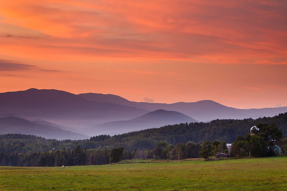 beautiful sunset clouds over the northern green mountains, Sparrow Farm, East Montpelier, Vermont