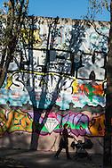 Paris 18th district.  mural art on Rue Ordener