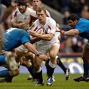 Twickenham, GREAT BRITAIN, Josh LEWSEY, ball in hands, goes through the gap, during the  England vs Italy, Six Nations Rugby match,  played at the  RFU Twickenham Stadium on Sat 10.02.2007  [Photo, Peter Spurrier/Intersport-images].....