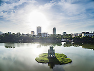 Aerial view of Turtle Tower in Hoan Kiem Lake, Hanoi, Vietnam, Southeast Asia