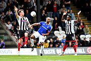 Grimsby Town midfielder Martyn Woolford(16), Oldham Athletic forward Chris O'Grady (10) and Grimsby Town midfielder Mitch Rose(8) during the EFL Sky Bet League 2 match between Grimsby Town FC and Oldham Athletic at Blundell Park, Grimsby, United Kingdom on 15 September 2018.