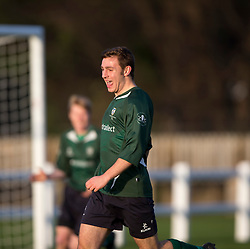 Edinburgh University&rsquo;s keeper Scott Hainey cele scoring their first goal.<br /> half time : Edinburgh University 2 v 0 Gala Fairydean Rovers, Scottish Sun Lowland League game played 15/11/2014 at Peffermill Playing Fields.