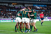 Makazole Mapimpi of South Africa celebrates after his try with teammates during the World Cup Japan 2019, Final rugby union match between England and South Africa on November 2, 2019 at International Stadium Yokohama in Yokohama, Japan - Photo Yuya Nagase / Photo Kishimoto / ProSportsImages / DPPI