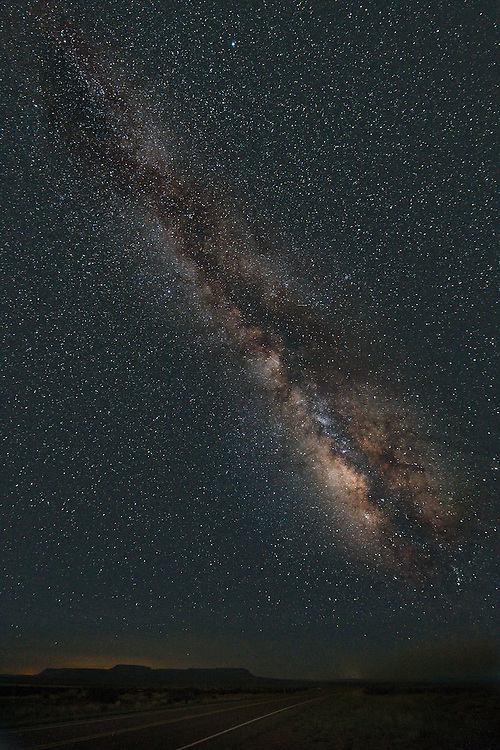 The central bulge of the Milky Way galaxy stands glorious in the dark New Mexico sky.