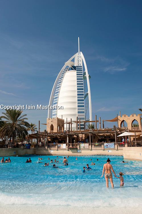 View of Burj al Arab hotel from water park in Dubai in United Arab Emirates