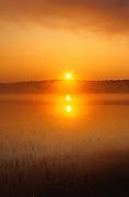 Fog at sunrise on Tilton Lake<br /> Sudbury<br /> Ontario<br /> Canada