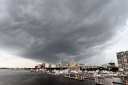 July 31, 2017 - West Palm Beach, Florida, U.S. - Rain moves in on West Palm Beach Monday morning as Tropical Storm Emily makes landfall. (Credit Image: © Melanie Bell/The Palm Beach Post via ZUMA Wire)