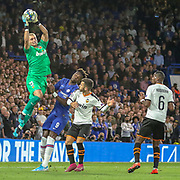 Valencia goalkeeper Neto (13) makes a save during the Champions League match between Chelsea and Valencia CF at Stamford Bridge, London, England on 17 September 2019.