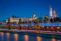 Close up view of Kremlin from the banks of the Moskva River in Moscow at night in Russian Federation
