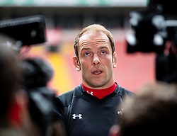 Alun Wyn Jones of Wales during the captains run<br /> <br /> Photographer Simon King/Replay Images<br /> <br /> Six Nations Round 3 - Captains Run - Wales v England - Saturday 22nd February 2019 - Principality Stadium - Cardiff<br /> <br /> World Copyright © Replay Images . All rights reserved. info@replayimages.co.uk - http://replayimages.co.uk