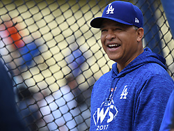 October 31, 2017 - Los Angeles, California, U.S. - Los Angeles Dodgers manager Dave Roberts during batting practice prior to game six of a World Series baseball game at Dodger Stadium on Tuesday, Oct. 31, 2017 in Los Angeles. (Photo by Keith Birmingham, Pasadena Star-News/SCNG) (Credit Image: © San Gabriel Valley Tribune via ZUMA Wire)