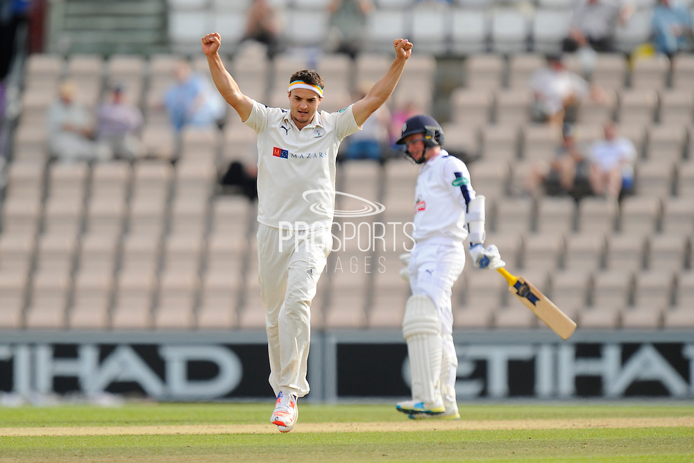 5 wickets for Jack Brooks - Jack Brooks of Yorkshire celebrates taking the final Hampshire wicket of Andy Carter to finish with bowling figures of 5-53 during the Specsavers County Champ Div 1 match between Hampshire County Cricket Club and Yorkshire County Cricket Club at the Ageas Bowl, Southampton, United Kingdom on 1 September 2016. Photo by Graham Hunt.