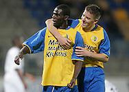 31-10-2007: Voetbal: KNVB Beker RKC Waalwijk - BV Veendam: Waalwijk<br /> Vreugde bij Fred Benson en Tim Peters na de 4-0 door Benson.<br /> Foto: Dennis Spaan