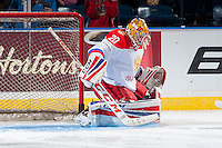 KELOWNA, CANADA - NOVEMBER 9: Maxim Tretiak #20 of Team Russia makes a save against the Team WHL on November 9, 2015 during game 1 of the Canada Russia Super Series at Prospera Place in Kelowna, British Columbia, Canada.  (Photo by Marissa Baecker/Western Hockey League)  *** Local Caption *** Maxim Tretiak;
