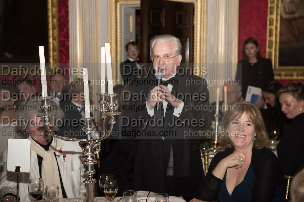 PROFESSOR MIKHAIL PIOTROVSKY; HANNAH ROTHSCHILD, Professor Mikhail Piotrovsky Director of the State Hermitage Museum, St. Petersburg and <br /> Inna Bazhenova Founder of In Artibus and the new owner of the Art Newspaper worldwide<br /> host THE HERMITAGE FOUNDATION GALA BANQUET<br /> GALA DINNER <br /> Spencer House, St. James's Place, London<br /> 15 April 2015