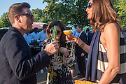 Ewan McGregor; Eve Mavrakis; ?, Serpentine's Summer party co-hosted with Christopher Kane. 15th Serpentine Pavilion designed by Spanish architects Selgascano. Kensington Gardens. London. 2 July 2015.