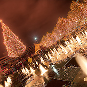 Fountain and tree after the Mayor's Christmas Tree Lighting at Crown Center in Kansas City Missouri, Nov. 25 2011.