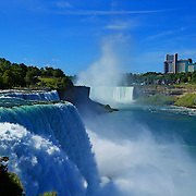 """""""Niagara Falls on a Clear Day""""<br /> <br /> Gorgeous powerful scene of both the American and Canadian side of Niagara Falls on a bright clear day!!<br /> <br /> Waterfalls by Rachel Cohen"""