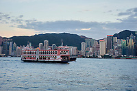 Tourist paddle boat on a tour of Hong Kong Harbour, Hong Kong, Hong Kong, August 2008   Photo: Peter Llewellyn