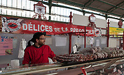 """Rennes, FRANCE. General View GV. Rennes weekly regional market. Brittany,<br /> <br /> """"Different Air Dried meats and Sausages"""", sold from stalls in the open and covered market  <br /> <br /> Saturday  26/04/2014 <br /> <br /> © Peter SPURRIER, <br /> <br /> NIKON CORPORATION  NIKON D700  f6.3  1/125sec  24mm  4.0MB"""