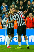 Ayoze Perez (#17) of Newcastle United celebrates Newcastle United's third goal (3-0) with Jose Salomon Rondon (#9) of Newcastle United during the Premier League match between Newcastle United and Cardiff City at St. James's Park, Newcastle, England on 19 January 2019.