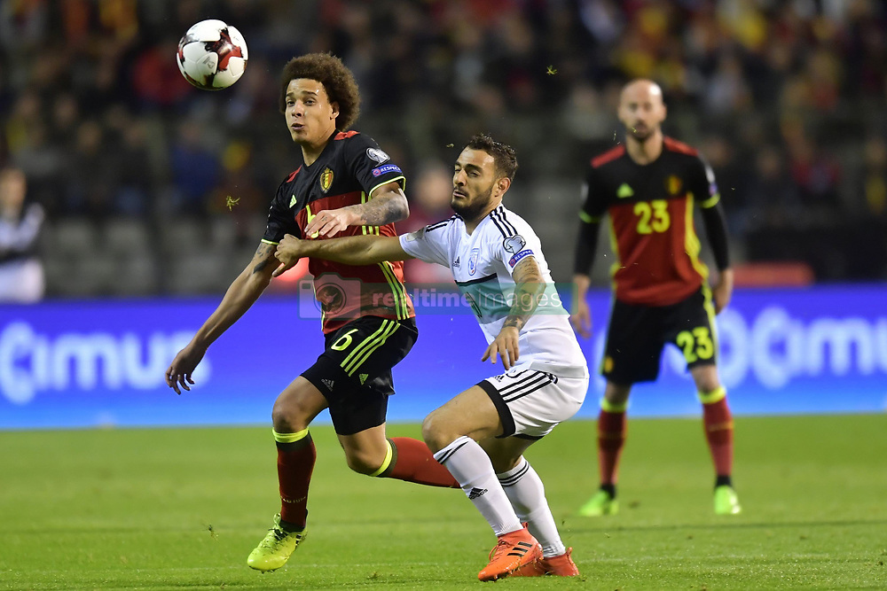 October 10, 2017 - Bruxelles, Belgique - Axel Witsel midfielder of Belgium battles for the ball with Jason Demetriou defender of Cyprus (Credit Image: © Panoramic via ZUMA Press)