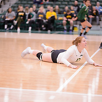 4th year libero  Taylor Ungar (13) of the Regina Cougars in action during Women's Volleyball home game on February 10 at Centre for Kinesiology, Health and Sport. Credit: Arthur Ward/Arthur Images