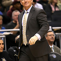 University of Central Florida head coach Donnie Jones watches the action while taking on the Florida Gators at the Amway Center on December 1, 2010 in Orlando, Florida. Central Florida won the game 57-54 for their first ever victory against a nationally ranked team. (AP Photo/Alex Menendez)