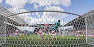 UTRECHT, FC Utrecht - Ajax, voetbal Eredivisie seizoen 2014-2015, 05-04-2015, Stadion de Galgenwaard, FC Utrecht keeper Robbin Ruiter (M) ziet een vrije trap van Ajax speler Lasse Schone op de lat eindigen.