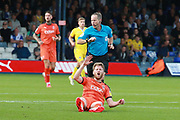Luton Town midfielder Eunan O'Kane (32) serious injury during the EFL Sky Bet League 1 match between Luton Town and Bristol Rovers at Kenilworth Road, Luton, England on 15 September 2018.