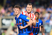 Joe Bunney and Charlie Wyke during the EFL Sky Bet League 1 match between Rochdale and Sunderland at Spotland, Rochdale, England on 6 April 2019.