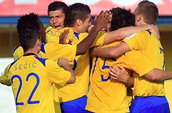 Players of Koper celebrate at football match of 13th Round of PrvaLiga Telekom Slovenije 08/09 between NK Luka Koper and NK Primorje, on October 18, 2008 in SRC Bonifika, Koper, Slovenia. (Photo by Vid Ponikvar / Sportida)