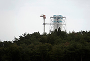 Photo shows the top of a structure inside the Fukushima No. 1 nuclear plant from a point inside the exclusion zone near Okuma, Fukushima Prefecture, Japan on Aug. 31 2011. Rob Gilhooly Photo