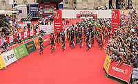 LONDON UK 31ST JULY 2016:  Sadiq Khan - Mayor of London, Horse Guards Parade starts the race. The Prudential RideLondon-Surrey 100 Sportive in London 31st July 2016<br /> <br /> Photo: Bob Martin/Silverhub for Prudential RideLondon<br /> <br /> Prudential RideLondon is the world's greatest festival of cycling, involving 95,000+ cyclists – from Olympic champions to a free family fun ride - riding in events over closed roads in London and Surrey over the weekend of 29th to 31st July 2016. <br /> <br /> See www.PrudentialRideLondon.co.uk for more.<br /> <br /> For further information: media@londonmarathonevents.co.uk