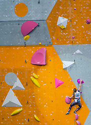 Jessica Pilz of Austria competes in Lead Women's event at the International Federation of Sport Climbing (IFSC) World Cup 2017 at Edinburgh International Climbing Arena, Scotland, United Kingdom.