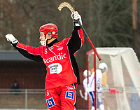 2018-11-11 | Jönköping, Sweden: Jönköping Bandy IF (9) Victor Strand celebrates during the game between Jönköping Bandy IF and Åtvidaberg BK at Råslätts IP ( Photo by: Marcus Vilson | Swe Press Photo )<br /> <br /> Keywords: Råslätts IP, Jönköping, Bandy, Div. 1 Södra, Jönköping Bandy IF, Åtvidaberg BK, Victor Strand