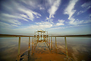 Resort beach and dramatic sky at the Dead Sea, Israel