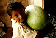 "Milton Espinozo, 6, hugs a watermelon in his mother, Miriam Espinozo's, store ""Mama's Delight."" Milton is in his school uniform ready to go to school for the day in Seine Bight, Belize."