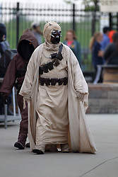 12 May 2018:  Star Wars Hoth Tusken Raider during a Frontier League Baseball game between the Traverse City Beach Bums and the Normal CornBelters for Star Wars Night at Corn Crib Stadium on the campus of Heartland Community College in Normal Illinois