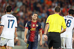 Pedro complains to the referee. Barcelona v Real Madrid, Supercopa first leg, Camp Nou, Barcelona, 23rd August 2012...Credit - Eoin Mundow/Cleva Media.
