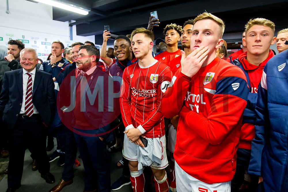 Bristol City owner Steve Lansdown and  Head Coach Lee Johnson and Josh Brownhill react as they are drawn against Manchester City in the semi finals after Korey Smith of Bristol City scores a goal in the 93rd minute to make it 2-1 and win the match for his side - Rogan/JMP - 20/12/2017 - Ashton Gate Stadium - Bristol, England - Bristol City v Manchester United - Carabao Cup Quarter Final.