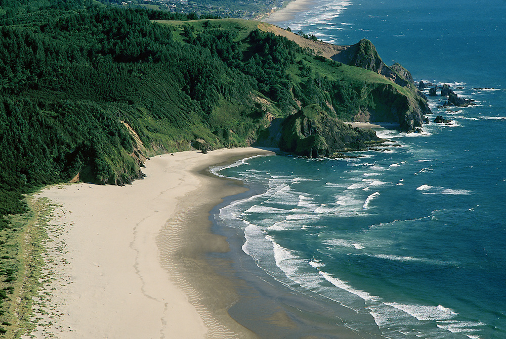 Beach and headland south of Cascade Head Natural Area on the central  Oregon coast.