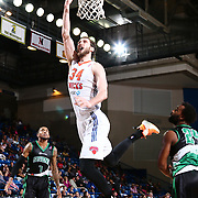 Westchester Knicks Center JORDAN BACHYNSKI (34) drives to the basket for a lay-up in the first half of a NBA D-league regular season finale between the Delaware 87ers and the Westchester Knicks Friday, Apr. 01, 2016, at The Bob Carpenter Sports Convocation Center in Newark, DEL.<br /> <br /> The Westchester Knicks will open up post season play verses the sioux skyforce Tuesday, Apr 5, 2016, at The Westchester County Center in White Plains, NY.