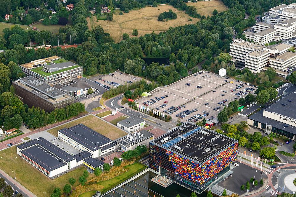 Nederland, Noord-Holland, Hilversum, 27-08-2013; Mediapark met Instituut voor Beeld en Geluid (li), VPRO-gebouw en dat van NTR-Vara. <br /> Business park of the public and commercial broadcasting companies,  the VPRO (green roof) and NTR-Vara buildings and the Netherlands Institute for Sound and Vision.<br /> luchtfoto (toeslag op standaard tarieven);<br /> aerial photo (additional fee required);<br /> copyright foto/photo Siebe Swart.