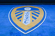 A general interior view of a Leeds United club badge inside Elland Road before the EFL Sky Bet Championship match between Leeds United and Blackburn Rovers at Elland Road, Leeds, England on 9 November 2019.
