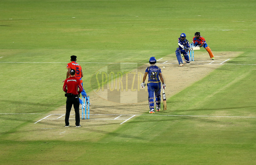 Parthiv Patel of the Mumbai Indians in action during match 35 of the Vivo 2017 Indian Premier League between the Gujarat Lions and the Mumbai Indians  held at the Saurashtra Cricket Association Stadium in Rajkot, India on the 29th April 2017<br /> <br /> Photo by Sandeep Shetty - Sportzpics - IPL