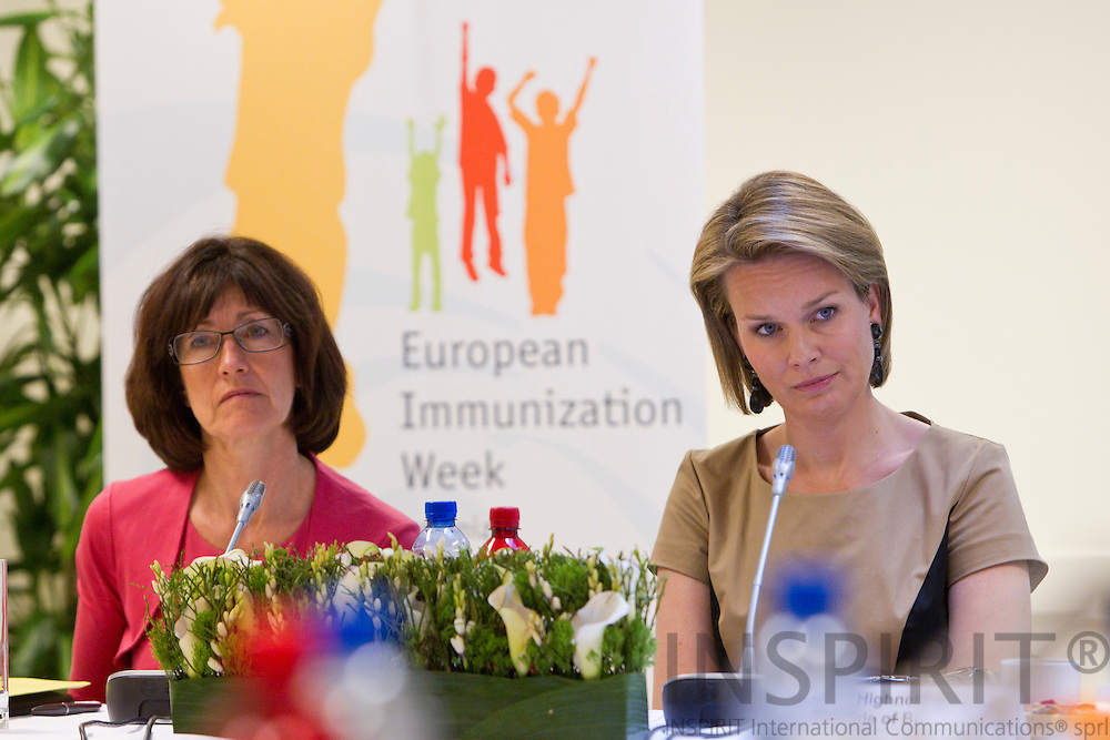 BRUSSELS - BELGIUM - 26 APRIL 2011 - - WHO European Immunization Week 2011 - - From left Laurette Onkelinx, Vice Prime Minister, Minister for Social Affairs and Public Helalth, Belgium, and Her Royal Highness Princess Mathildee of Belgium.  Photo: Erik Luntang / INSPIRIT Photo