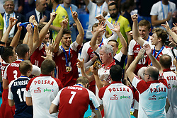 September 30, 2018 - Turin, Italy - Poland v Brazil - FIVP Men's World Championship Final.Vital Heynen coach of Poland celebrates with the trophy at Pala Alpitour in Turin, Italy on September 30, 2018. (Credit Image: © Matteo Ciambelli/NurPhoto/ZUMA Press)